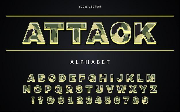 Army camouflage schriftart mit alphabet im millitary-stil