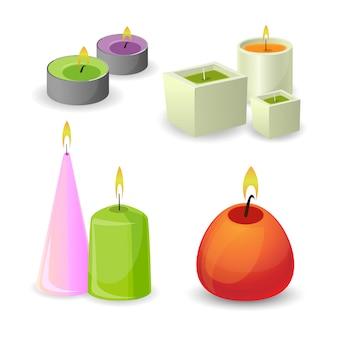 Aromakerzen mit kleiner flamme. satz karikaturillustrationen mit aromatherapie, die bunte kerzen mit aromatischer pflanze und ätherischen ölen brennt, isoliert.