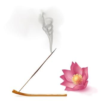 Aromarauchrohr haftet auf halter, lotosaromatherapie