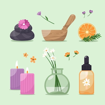 Aromatherapie-elementpaket mit flachem design