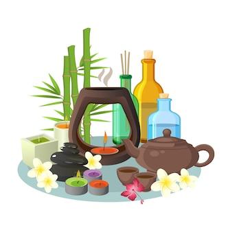 Aromatherapie-sammlung von kerzen und speziellen bunten flaschen zur entspannung auf grauem tablett. illustration von aromakerzen, brauner teekanne mit tassen, flaschen mit speziellen flüssigkeiten und hohen pflanzen