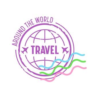 Around the world travel emblem für den reisebüroservice. symbol mit erdkugel und flugzeugen, isolated on white background. label für handy-app, reisebanner. cartoon-vektor-illustration