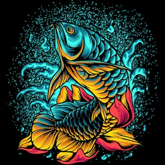 Arowana fisch mit blumen