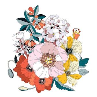 Arrangement mit blumen. blumenrose hortensie dahlie zinnie