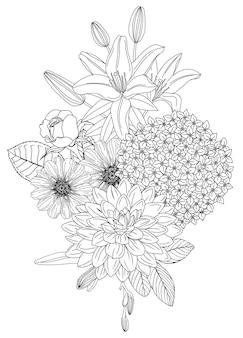 Arrangement mit blumen. blumenumrisse von rose hortensie dahlia zinnia