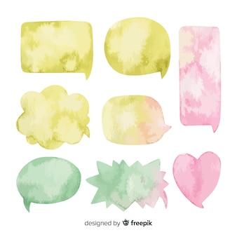 Arrangiert aquarell sprechblasen sammlung