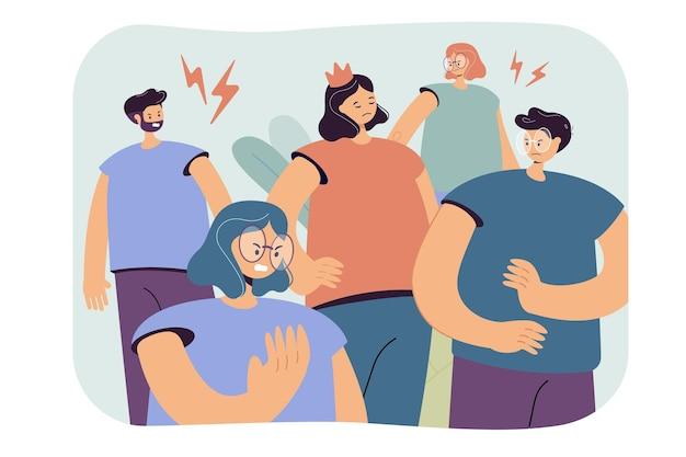 Arrogante egoistische person in der krone, die eine gruppe von menschen verärgert und wütend macht. karikaturillustration