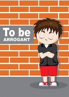 Arrogante emoticon-jungen-cartoon-charakter-illustration zu sein