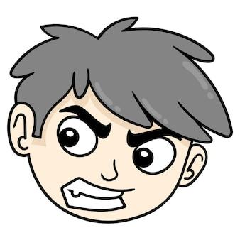 Arroganter hübscher junge ist wütend, vektorillustrationskartonemoticon. gekritzelsymbol-zeichnung
