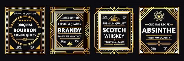 Art-deco-alkoholetikett. vintage bourbon scotch, retro brandy und absinth etiketten illustration