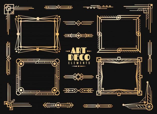 Art-deco-elemente. gold hochzeit deko rahmen bordüre, klassische trennwände und ecken. goldene zusammenfassung der retro-luxuskunst der 1920er jahre