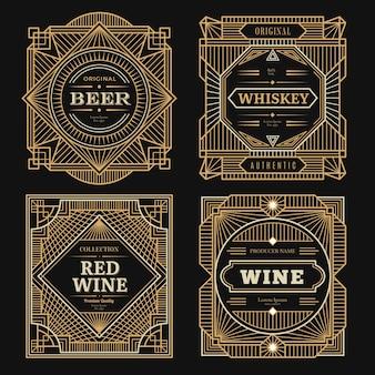 Art-deco-etiketten. vintage alkohol etiketten gerahmte marken rum tequila getränke goldene grenzen wirbel vorlage. weinalkoholabzeichen, etikett für flaschenillustration
