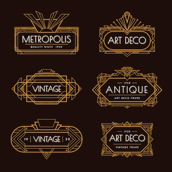 Art deco goldene elegante vintage art dekorative elemente illustration