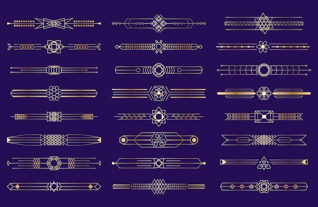 Art deco goldener rand illustrationssatz
