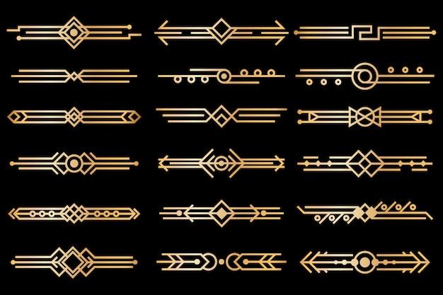 Art-deco-grenzen. gold deko design trennwände. vintage luxuselemente der 1920er und 30er jahre. vektor isolierter satz