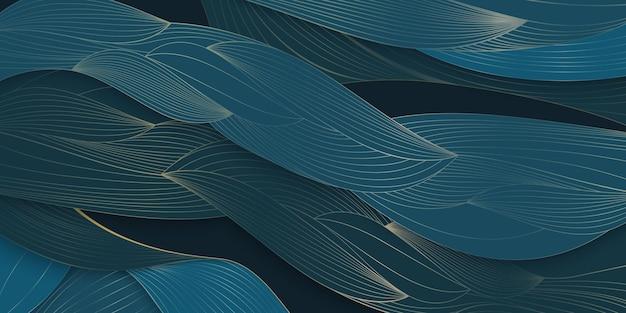 Art-deco-muster textur mit blättern abstrakte natur blaues blatt hand gezeichnet von goldener linie