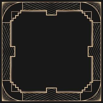 Art-deco-rahmen mit geometrischem muster auf dunklem hintergrund