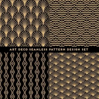 Art-deco-stil nahtlose muster designset