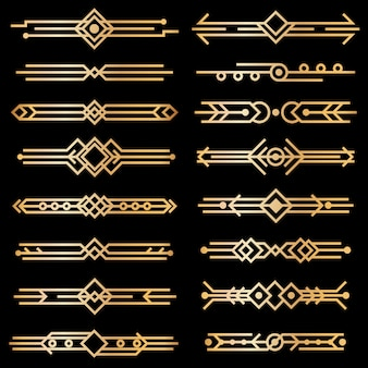 Art-deco-trennwände. golddeko-designlinien, goldene buchkopfränder. viktorianische vintage-elemente der 1920er jahre auf schwarz. vektor isolierter satz