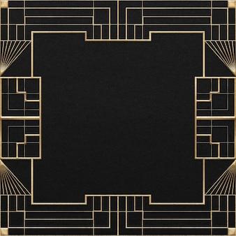 Art-deco-vektorrahmen mit geometrischem muster auf dunklem hintergrund