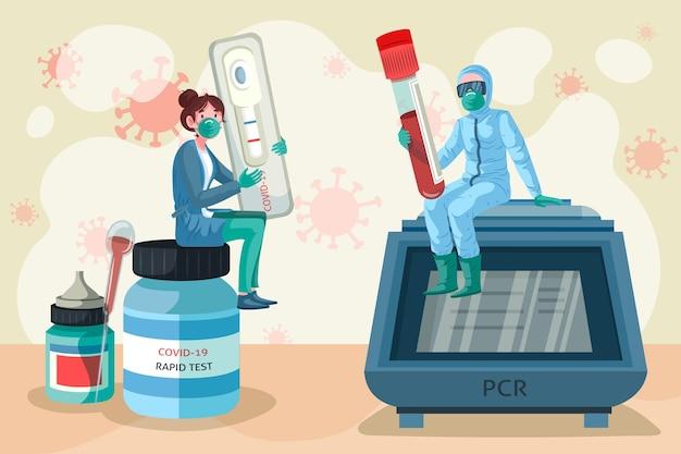 Art der abbildung des coronavirus-tests
