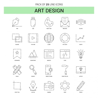 Art design line icon set - 25 gestrichelte umriss-stil