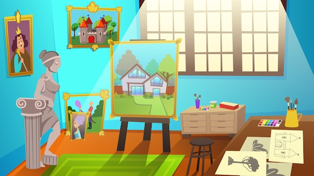 Art studio interior. werkstattraum mit leinwand