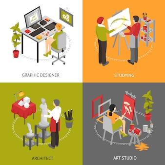 Art studio isometrische zeichen eingestellt