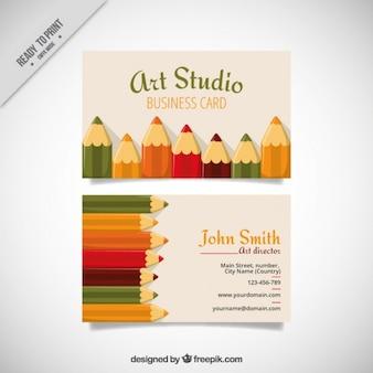Art studio karte mit wachsmalstiften