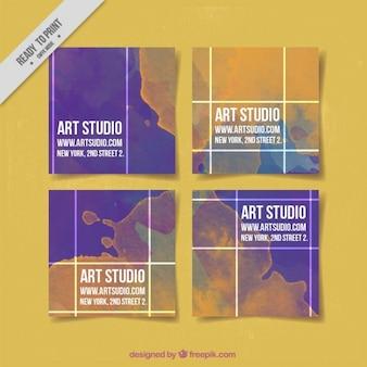 Art studio-karten mit aquarellen