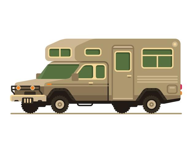 Art-vektorillustration des rv-wohnmobilwagens flache