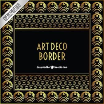 Arte deco-grenze in goldenen und schwarzen farbe