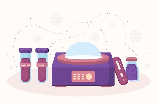 Arten von coronavirus-tests und röhrchen mit blut