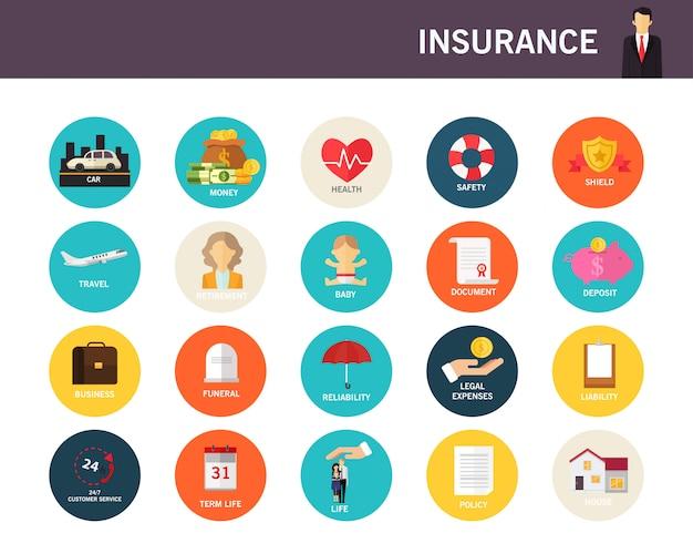 Arten von flachen ikonen des versicherungskonzeptes