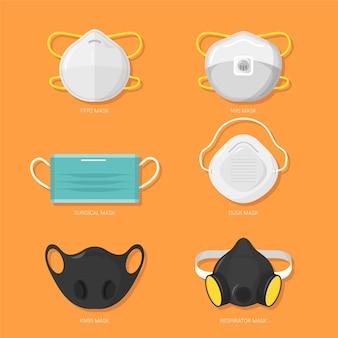 Arten von gesichtsmasken eingestellt