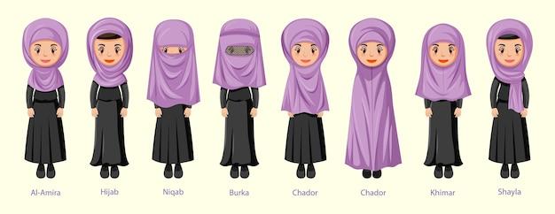Arten von islamischen traditionellen schleier von frauen in zeichentrickfigur