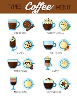 Arten von kaffee-set