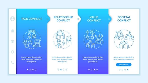 Arten von konflikt-onboarding-vektorvorlagen. responsive mobile website mit symbolen. webseiten-walkthrough-bildschirme in 4 schritten. kommunikationsprobleme farbkonzept mit linearen illustrationen