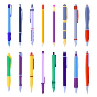 Arten von kugelschreibern und bleistiften illustrationen gesetzt. karikatursammlung von schulschreibwerkzeugen, tintenschreibern, druckbleistiften auf weiß isoliert. schule, schreibmaterial oder instrumente, schreibwaren