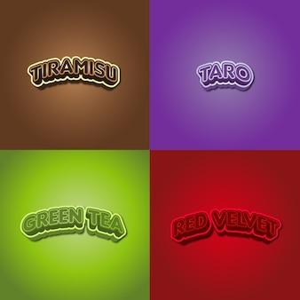 Arten von lebensmittelgeschmack, typografie