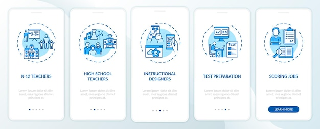 Arten von online-lehrjobs, die den bildschirm der mobilen app-seite mit konzepten einbinden. high school lehrer walkthrough 5 schritte grafische anweisungen. ui-vorlage mit rgb-farbabbildungen