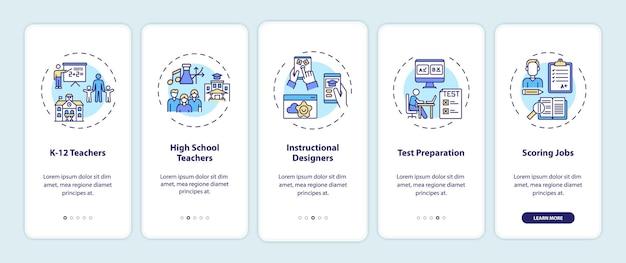 Arten von online-lehrjobs, die den bildschirm der mobilen app-seite mit konzepten einbinden. k 12 lehrer in der schule walkthrough-schritte. ui-vorlage mit rgb-farbe