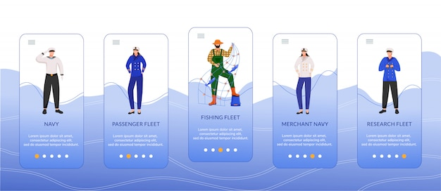 Arten von seeflotten onboarding mobile app bildschirmvorlage. passagier, handelsmarine. fischereiflotte. walkthrough-website schritte, zeichen.