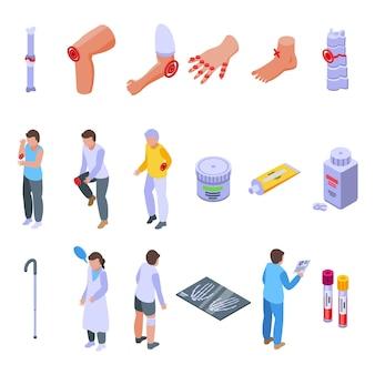 Arthritis-symbole gesetzt. isometrischer satz arthritis-vektorikonen für das webdesign lokalisiert auf weißem hintergrund