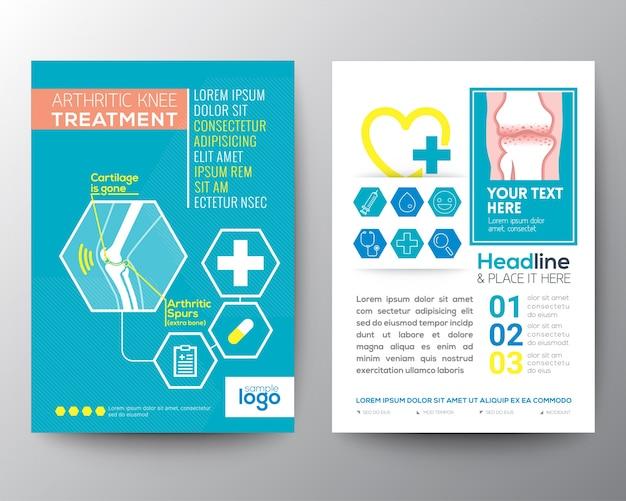 Arthritischen knie behandlung gesundheitswesen und medizintechnik poster broschüre flyer layout-vorlage