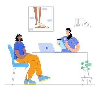 Arthritisgelenk im knöchel. arzthilfe und ärztliche untersuchung in der klinik. schmerzen im bein.