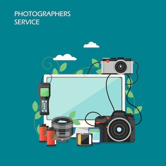 Artillustration des fotografenservice-vektors flache
