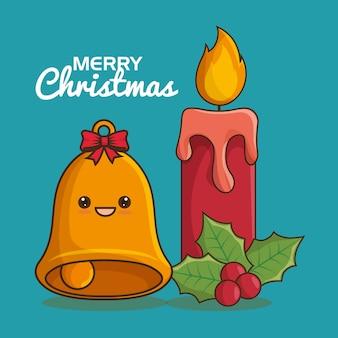 Artvektorillustrationsdesign der frohen weihnachten charaktere kawaii