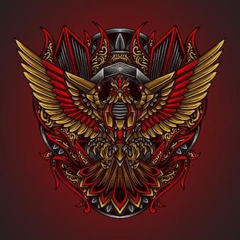 Artwork illustration und t-shirt design adler roboter gravur ornament