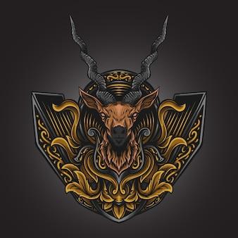 Artwork illustration und t-shirt design antilopen gravur ornament